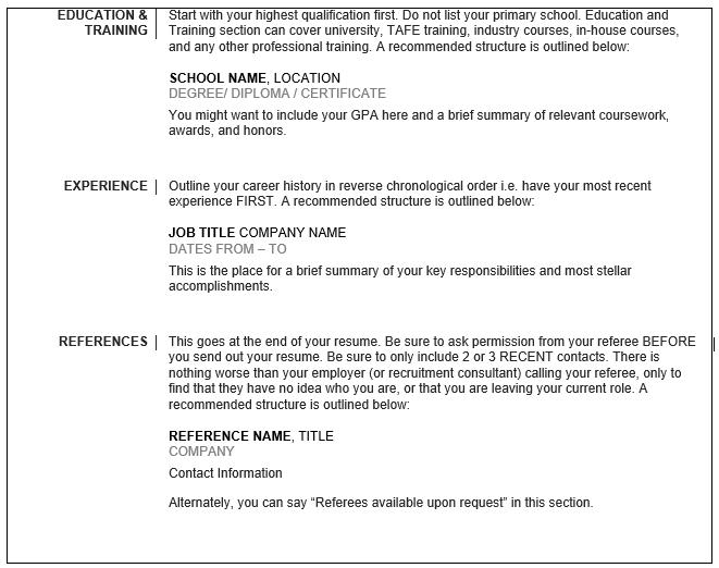 Resume help australia